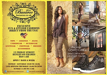 Leaflet produced by Henley Web Development for Bucaroo Fashions